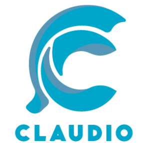 Claudio logo blu chiaro